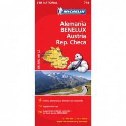 Mapa turístico de carreteras de Alemania BENELUX, Austria y República Checa,